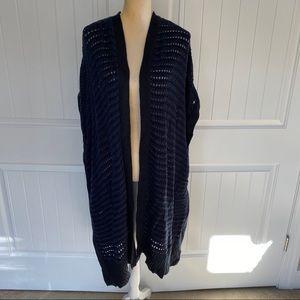 Lane Bryant NWT blue & black knit poncho cardigan